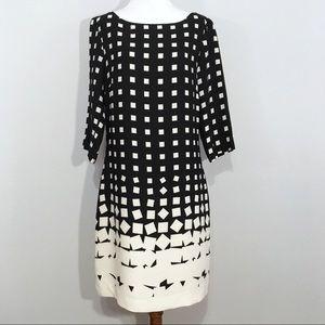 Banana Republic Grid Print Longsleeve Sheath Dress
